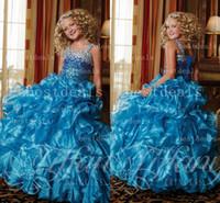 2014 blue Spaghetti Straps Organza Ruffles Girl's Pageant Dr...