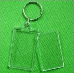 Wholesale DIY Photo Keychains Acrylic Blank Key Chains Insert Photo Plastic Keyring Rectangular Heart Round Shape