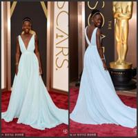 V-Neck academy award dress - 2014 The th Academy Awards Dew pita Celebrity Dress Low cut V neck Ruffled Light Sky Blue Chiffon Backless Evening Prom Formal Dresses