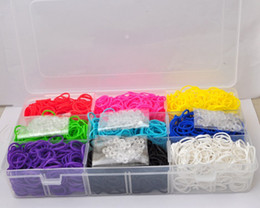 Wholesale Hot rainbow loom weaving machine booster packs rubber band transparent plastic box to send bag clips