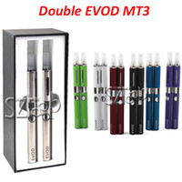 Wholesale Double evod MT3 Electronic Cigarette starter kit ml mt3 Rechargable atomizer mAh evod Battery gift box colorful cheap