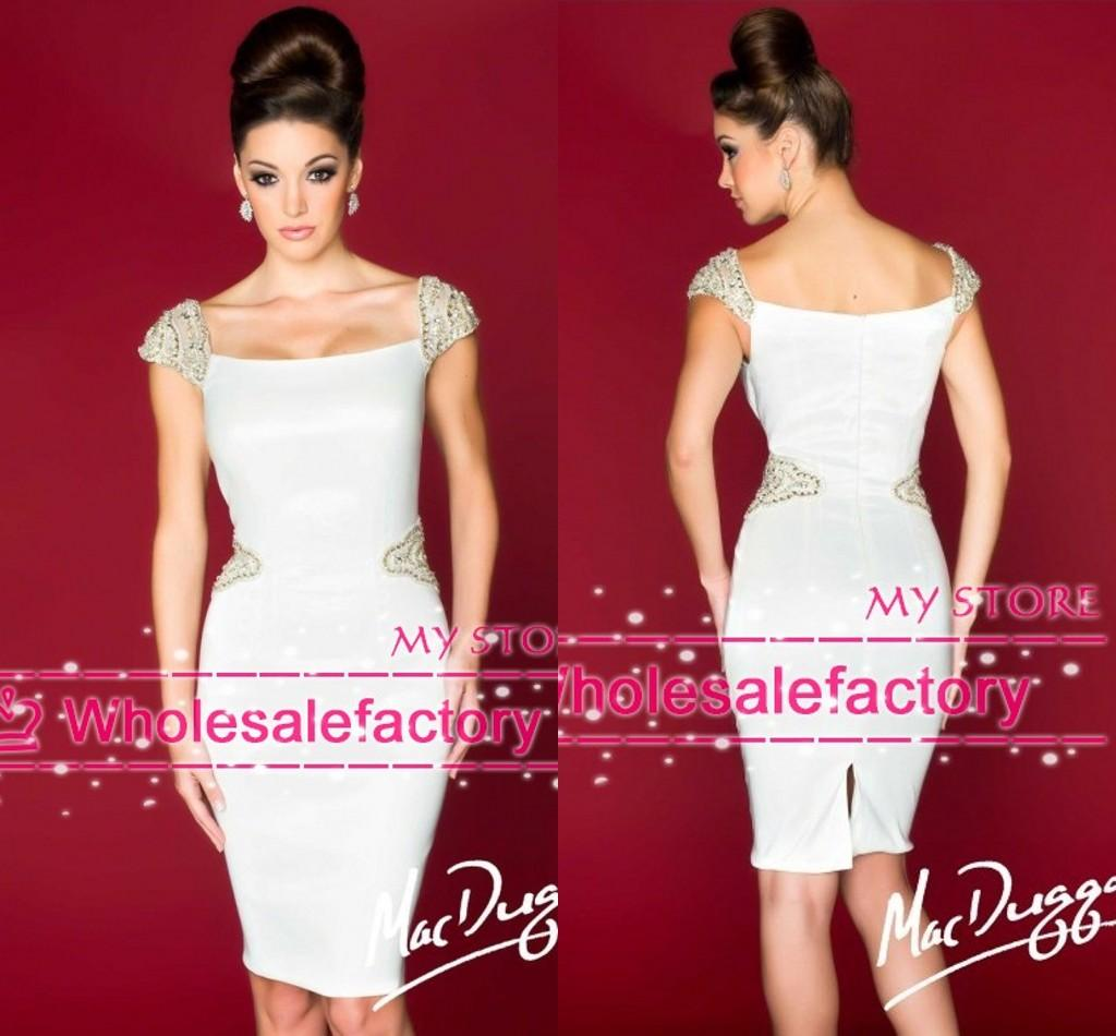 Buy 2016 New White Cocktail Dresses Sheer Cap Sleeves Silver Gold Beads Zipper Back Knee Length Satin Short Prom 78811R