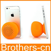 Wholesale Mushroom Bluetooth Mini Speaker Waterproof Wireless Silicon Suction Cup Handfree MIC Voice Box Colorful for Iphone s s Ipod Ipad Itouch