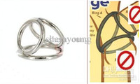 Steel   Wholesale - Metal Penis Ring Cock Cage Bondage Gear The Triple Ring Helix Enhancer Men's Adult Sex Toys Products 10pcs lot