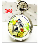 Wholesale Fashion Ceramic bird cage with mirror Retro pocket watch Quartz Necklace watch Pendant Chain Clock