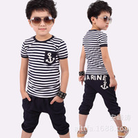 Boy Summer Short Wholesale - Korean children's clothing summer baby boy navy stripes anchor piece suit