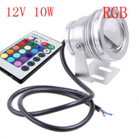 Wholesale W RGB Floodlight Underwater LED Flood Lights Swimming Pool Outdoor Waterproof Round DC V Convex Lens led light