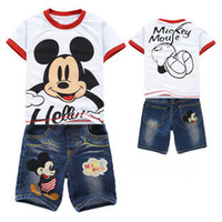 Cheap Retail Baby boy clothing set girls clothing sets cartoon jeans shorts new 2013 summer Children clothing Suits Products White