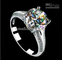 Wholesale Luxury CT K white gold plated engagement ring jewelry simulate diamond wedding ring for women anniversary ring mount ring