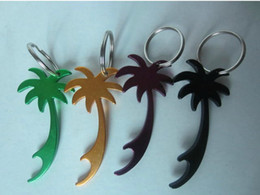 Wholesale Mini Size Aluminum Coconut Trees Bottle Opener With Keychain For Wedding Favors Best Gift