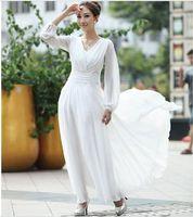 Wholesale New Spring white dress Women Bohenmia Pleated Wave Long evening dress Princess Chiffon Maxi long dresses Y334