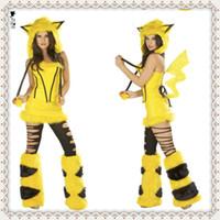 People sexy halloween costumes - 2014 sexy Animal Costumes Yellow pikachu adult cosplay costume Catwoman costumes sexy halloween costume for women
