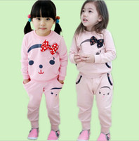 Girl activewear kids - Spring autumn kids clothing girls sport suits kids outfits girl activewear with bowknot cotton s l
