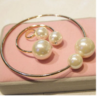 Wholesale 2014 New fashion exaggerated pearl collar necklace rose gold plated bracelet Ring Jewelry Set