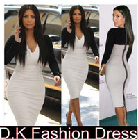 Casual Dresses V_Neck Knee Length 2014 New Womens Long Sleeves V Neck Stretch bodycon Celebrity Kim Kardashian Mid body con Splice Back Zipper dress Black&White Patchwork