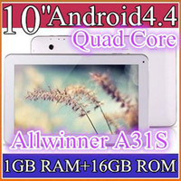 Wholesale 50pcs quot inch Quad core GHz Allwinner A31S Android tablet pc Capacitive GB GB ROM Dual Camera HDMI Bluetooth USB OTG