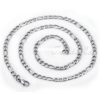 Wholesale 5MM Figaro Style Stainless Steel Necklace Mens Chain Top Quality jewelry KN73