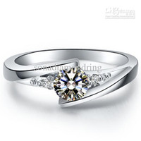 Solitaire Ring Women's Wedding Wholesale - 0.5 ct star twinkle simulate diamond rings sterling silver rings plated 14K white gold semi mount ring settings infinity ring