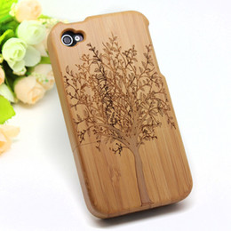 Wholesale Real Natural Bamboo Wood Wooden Back Hard Case Cover For iPhone S S Big Tree