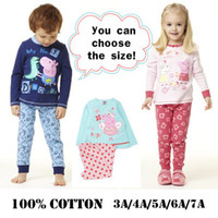 Wholesale hot sale set retail T cotton peppa pig george baby girls boys top amp pants sets kids apparel baby pajamas pjs suits Free Ship Melee