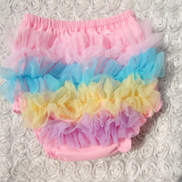 Briefs best clothes brands - Best selling Colors of rainbow lace Baby girl TUTU PP pants bloomers Ruffles dots pp pants kids toddler underwear clothing