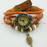 Wholesale 35pcs Colors Ladies Womens Retro Leather Bracelet Short Leaf Decoration Quartz Luxury Vintage Wrist Watch Wristwatch