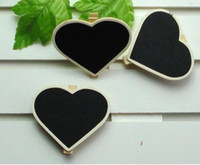 Wholesale 100pcs mini wooden blackboard clip notice message board folder clip board for children kids