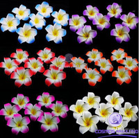 Barrettes as picture Floral New Free Shipping!! 120pcs 3 inch Hawaiian Plumeria Foam Flower Hair Clips(6 colors mixed)