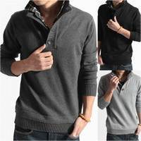 Wholesale Excellent Mens Classic autumn winter sweater warm polo cardigan sweater high neck sweater False twinset Cardigan Size M XXL