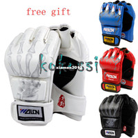 Wholesale Free Gift Pairs High Quality Half Finger Grappling MMA Gloves Boxing Fight Ultimate Gloves Punch