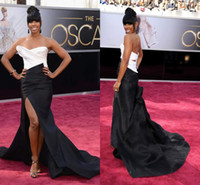 Wholesale 2014 Sale KELLY ROWLAND White Black Sexy Red carpet Celebrity Dresses Split Front Sheath Party Pageant Formal Evening Gowns Oscar Cheap