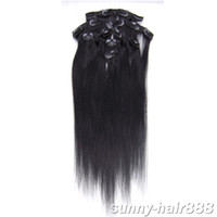 "remy india human hair 20"" 7pcs set Clip- in hair Human H..."