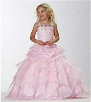 Reference Images Girl Chiffon Free shipping 2013 new arrival Ball Gown Spaghetti strap Strapless waist Rhinestone cheap little girl pageant dress