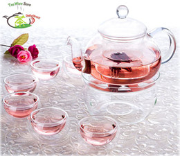 Wholesale 8in1 Kung fu Tea Set fl oz ml Pyrex Glass Flower Teapot Coffee Pot with Artistic Lid fl oz Double Wall Tea cup Mugs Warmer