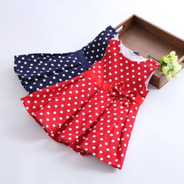 Retail WD025 Summer 2016 children kid clothing round dot lovable bowknot sleeveless vest girl one-piece dress 2-7Y 2 colour free shipping