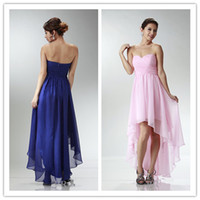 Wholesale Beautiful hi lo dresses young girls strapless front short long back chiffon prom girl dresses