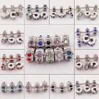 Wholesale 100pcs Mixed Color Crystal Rhinestone Clip Lock Stopper End Beads Jewelry Finding Fit Charm European Bracelet Bangle Chain