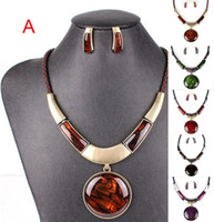 Wholesale Fashion spring new alloy with resin stones jewelry sets pendant necklace stud earring sets NL