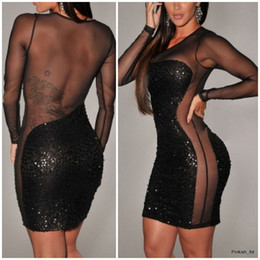 Wholesale 2014 ladies fashion sexy black mesh sequined mini dress Night club