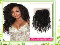 Cheap Malaysian Hair lace closure Best Natural Color Curly Virgin hair