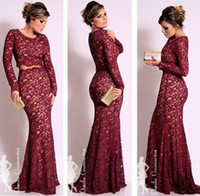 Wholesale 2014 Long Sleeves Burgundy Lace Two pieces Evening Dresses Oscar Celebrity Dresses Mermaid Scoop Neck Vintage Floor Length Prom Formal Gowns