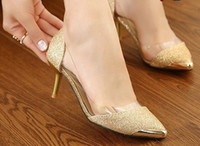 Wholesale New arrival fashion influx sweety nightclub transparent golden girl elegant pointed heels sandals EU34