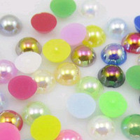Wholesale New Half Pearl Round Bead Flat Back mm Acrylic Scrapbook for Craft FlatBack AB colors
