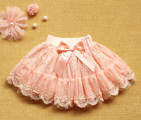 Wholesale Retail Spring new children girl lace bowknot tutu skirt baby kid dress yellow pink