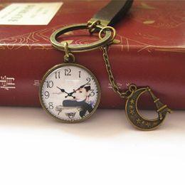 Novelty Audrey Hepburn Keychain Cameo Clock Key Chain Vintage Leather Key Chain Handmade Jewelry k001