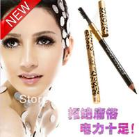 Waterproof Pencil Black New fashion Waterproof Liquid Eyeliner Pen Black Eye Liner Pencil Makeup Leopard Women free shipping