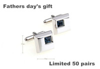 Wholesale Fathers day s gift classic cufflinks square diamond plated white steel men s jewelry cuff links for men s shirt