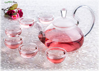 Wholesale 7in1 Kung fu Tea Set fl oz ml High Handle Pyrex Glass Flower Teapot Coffee Pot with filter fl oz Double Wall Layer Tea cup Mugs