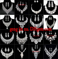 Wholesale Fashion Silver Rhinestones Crystals Wedding Party Bridal Bridesmaid Necklace Earrings Shining Luxurious Big Jewelry Set