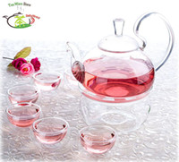 Wholesale 8in1 Kung fu Tea Set fl oz ml High Handle Pyrex Glass Flower Teapot Coffee Pot w filter Warmer A fl oz Double Wall Tea cup Mugs